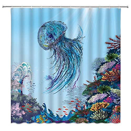 Wasserfarben-Duschvorhang Quallen Blau Ozean Tier Quallen Koralle Unterwasser Badvorhänge Stoff Polyester Badezimmer Vorhang
