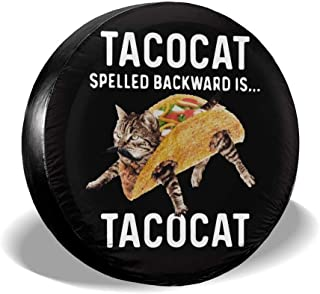 AMRANDOM Spare Tire Cover Wheel Cover Tacocat Spelled Backward is Tacocat Black Universal Tire Covers for Trailer RV SUV Truck Camper Travel Trailer Auto Accessories - 16 Inch