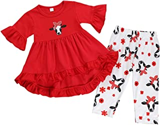 Sponsored Ad - Toddler Baby Girls Clothes Pleated Cow Ruffle Dress Tops+Floral Pants Outfit Set