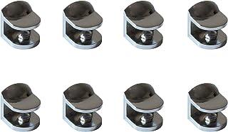 Metalen glasklem, gebogen design, set van 8, glazen vloerdragers 22 x 23 x 24 mm, gepolijst chroom, instelbare glashouder ...