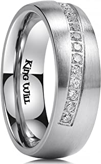 King Will GEM 7mm 8mm Mens Wedding Ring Inlay with 14 Cubic-zircons Matte Finish Dome Style Stainless/Titanium