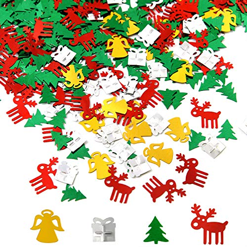 TUPARKA 60g Christmas Confetti Table Decorations Reindeer Christmas Tree Angel Present for Christmas Party Holiday Decor, 2 Pack in Total