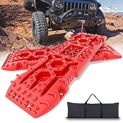 OFF ROAD BOAR Traction Boards with Jack Lift Base, Recovery Traction Tracks, Tire Ladder for Sand Snow Mud with Bag