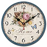 S.W.H vintage chic decorativo floreale farfalla casa orologio da parete tondo 25,4 cm