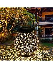 Tomshine Lantaarn op zonne-energie, decoratieve metalen hangende ledlampen, IP44 waterdicht, voor patio courtyard balcony tuin