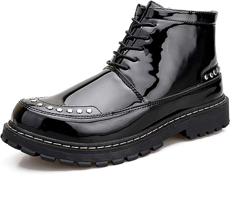 ZHRUI Herren Polierte Lackleder Schuhe Soft Sohle Rutschfeste Rutschfeste Rutschfeste Durable Atmungsaktive Stiefel (Farbe   Schwarz, Größe   EU 43)  afe892