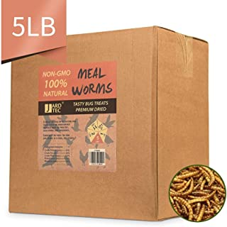 JARDTEC Non-GMO Dried Mealworms - 100% Natural Treats for Birds Chickens Hedgehog Hamster Fish Reptile Turtles, 5 lb
