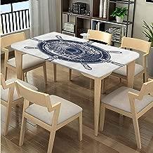 LQQBSTORAGE Elastic Edge 3D Printed Tablecloth, Sea Compass Tsunami Pattern Printing, Elastic on The Corner Rectangular Tablecloth Fits Rectangular Tables:96