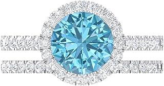 Juego de anillos de boda, anillo de compromiso solitario de 8 mm, D-VSSI Moissanita Eternity Band, oro blanco de 14 quilates