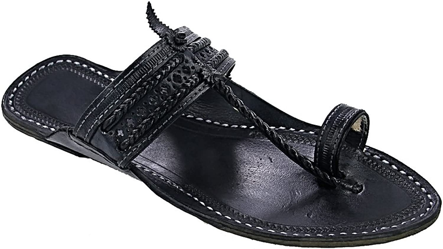 KOLHAPURI CHAPAL Original Annorful Looking svart svart svart Pointed for män Slipper Sandal  mycket populär