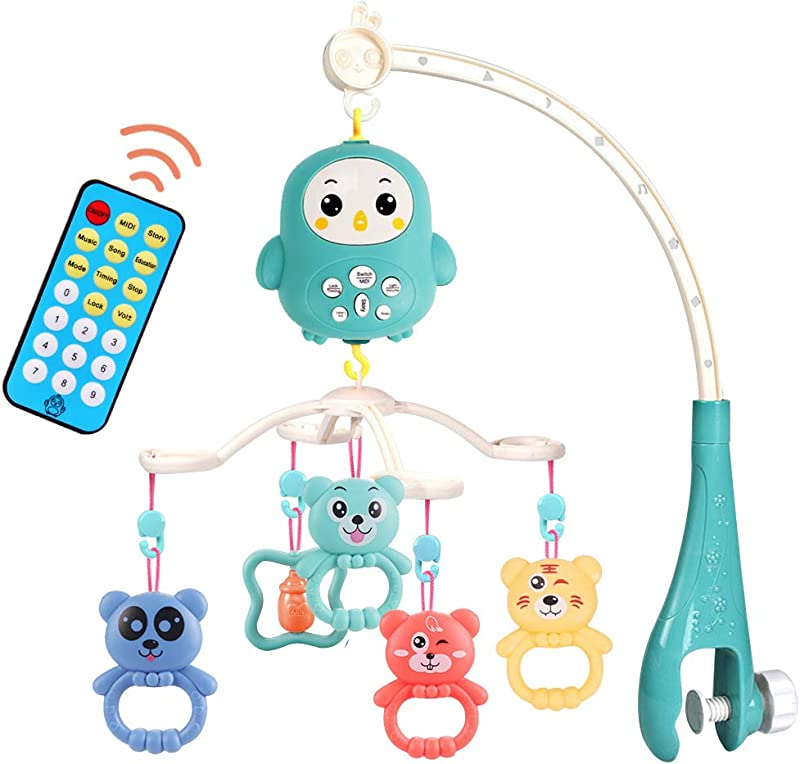 DoYay Baby Musical Mobile Crib With Music And Lights Hanging Rotating Rattles Remote Control Music Box Timing Function For Babies Boy Girl Toddler Sleep
