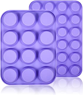 WARMWIND Silicone Muffin Pans, Non-Stick Cupcake Mold Including Mini 24 Cups, 12 Regular Cups, BPA Free Silicone Bakeware Tray, Dishwasher Safe (2 Pack, Purple)