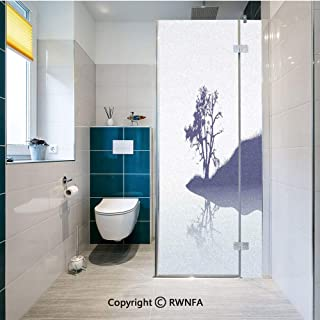 RWNFA Decorative Window Films Silhouette of Lonely Tree by Lake with Mirror Effects Melancholy Illustration Kitchen Glass Sticker Waterproof Anti-UV for Home and Office 23.6