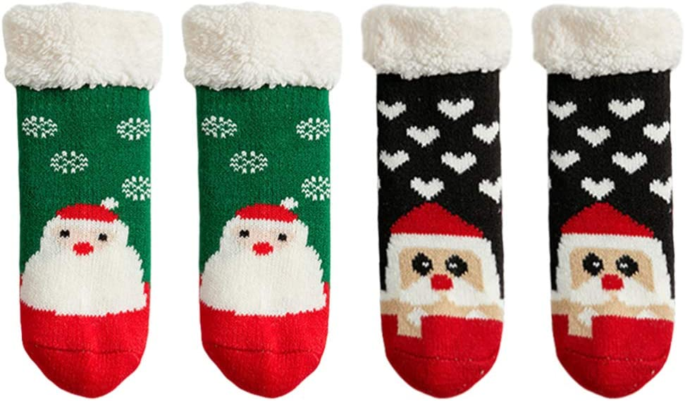 NUOBESTY 2 Excellent Pairs Max 52% OFF Christmas Toddler Sli Baby Socks Cotton Cartoon