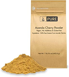 Acerola Cherry Powder (1 lb, ½ TSP per Serving) by Pure, 100% Pure, Rich in Vitamin C & Immunity Boosting, All-Natural, Gl...