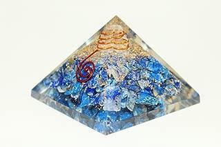 Crocon Lapis Lazuli Orgone Pyramid Gemstone Energy Generator for Reiki Healing Chakra Balancing EMF Protection Aura Cleansing Size: 3-3.5 Inch