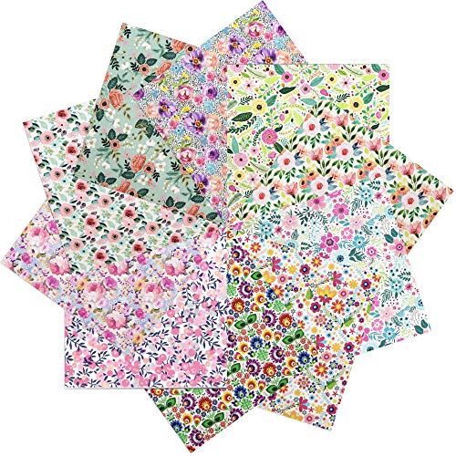 David accessories 10pcs 20x20cm (7.8 x 7.8 inch) Spring Flower Printed Cotton Fabric Craft Floral Fabric Bundle for DIY Sewing Quilting Crafts