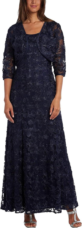 R & M Richards Women's Embellished Soutache Gown Bolero Jacket Navy Size 8