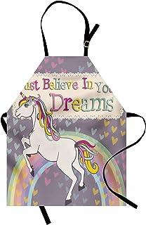 ABAKUHAUS Jovencitas Delantal de Cocina, Figura de Unicornio con Frase Inspiracional Cree en Tus Sueños Ilustración, Lavab...