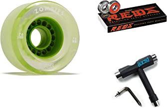 Hawgs Clear Zombie Longboard Wheels - 76mm - 78a - Green with Bones Reds Bearings and CCS Skate Tool