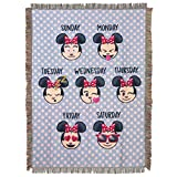 Disney's Emoji Minnie Mouse, 'Weekday Minnie' Woven Tapestry Throw Blanket, 48' x 60', Multi Color