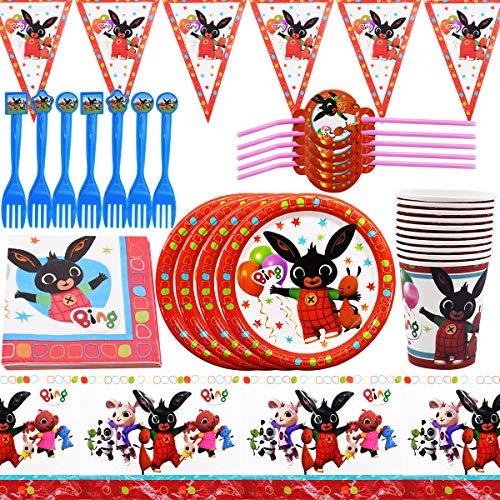 Party Supplies Vajilla YUESEN 62 piezas Party Supplies Juego de Decoración Plato de Fiestas Incluye Pancarta Platos Cubiertos Cumpleaños para Decoraciones de Ducha