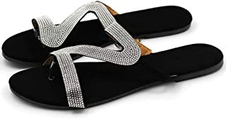 Women's Flip Flops Slide Sandals Rhinestone Glitter Beach Slides