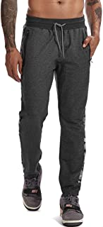 AIMPACT Mens Jogger Pants Gym Tapered Sweatpants Slim Fit Zipper Bottom Leg