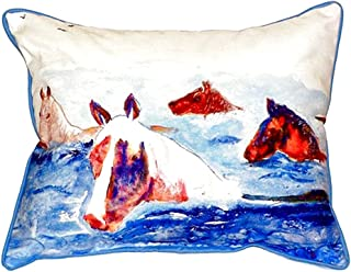 "Betsy Drake SN151 oteague Ponies Pillow, 11"" x14"""
