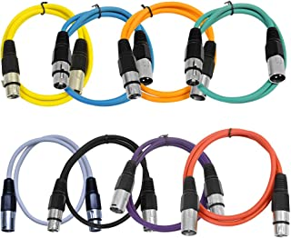 Seismic Audio - SAXLX-2-Multi - 8 Pack of Colored 2 Foot XLR Patch Cables - 2' Mic Cable Cords