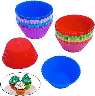 SenHAI Lot de 32 moules de cuisson réutilisables en silicone anti-adhésif pour muffins, truffes, cupcakes, cupcakes, cupca...