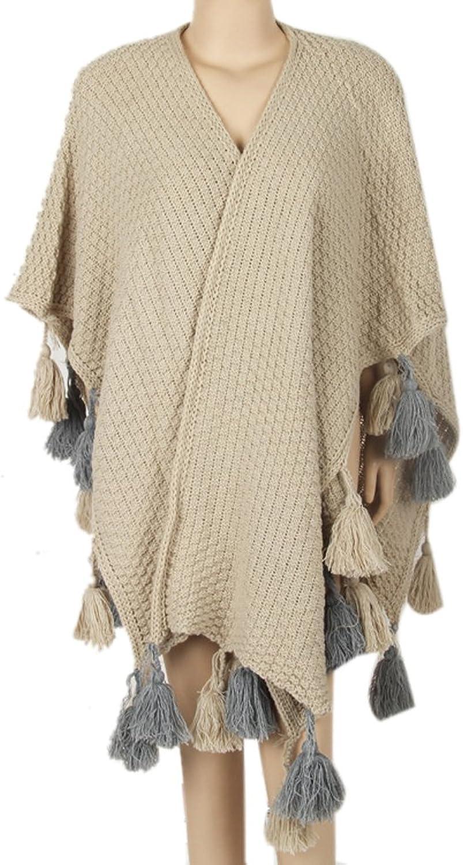 Icegrey Women Poncho Shawl Cape Winter Oversized Fashion Shawls Beige