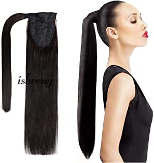 18 Inches Silk Straight Clip in Ponytail Hair Extensions Remy Human Hair for Women 1 Piece Hairpiece 80 Grams Wrap Around Ponytail Human Hair Extensions Black Color