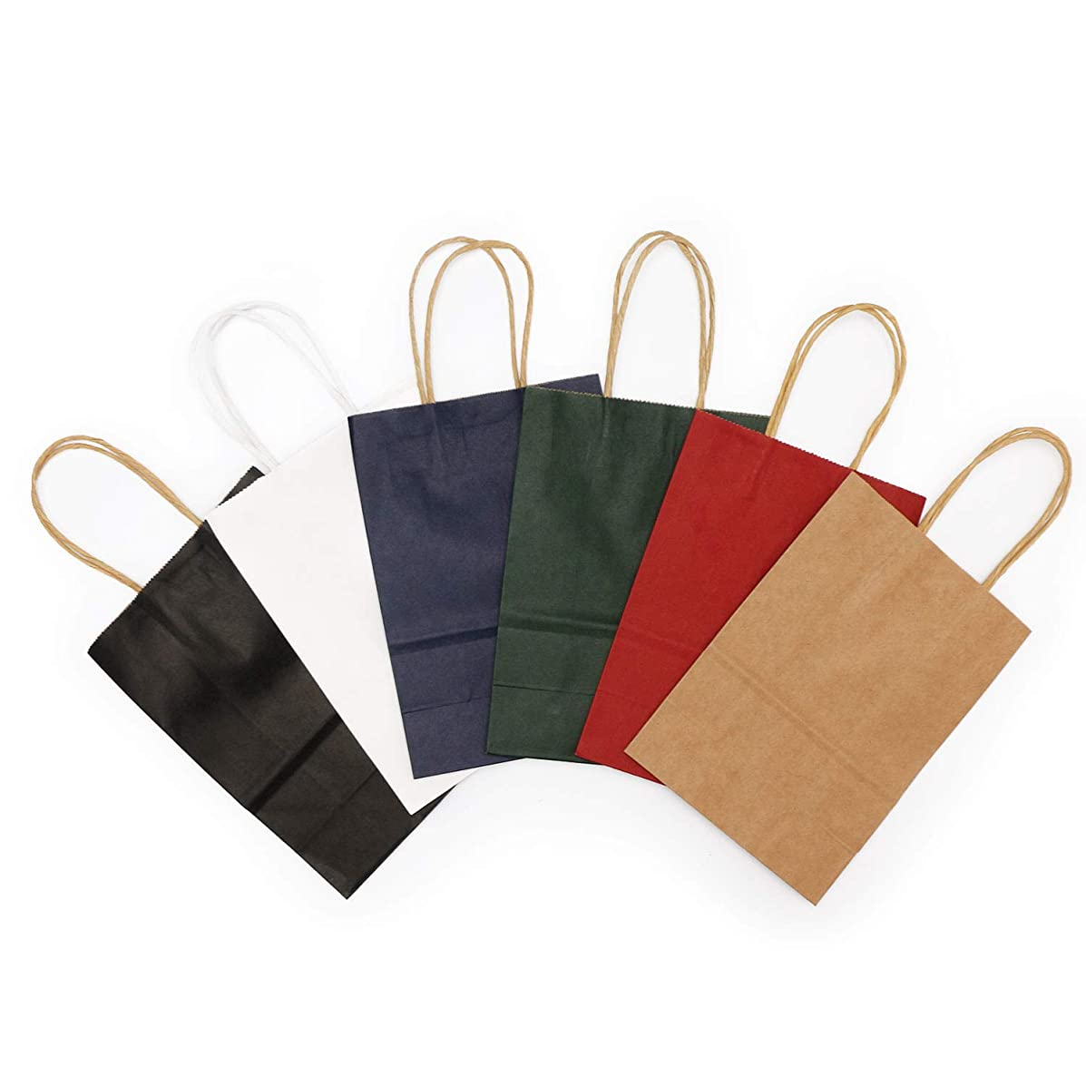 Assorted Kraft Paper Bags, 6pcs Multi Color Retail Paper Bags with Handles, Merchandise Bag, Gift Bag, Wedding Party Bag (5.8
