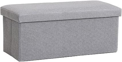 InSassy Folding Storage Ottoman Bench Foot Rest Toy Box Hope Chest Linen-Like Fabric - Medium - Light Grey