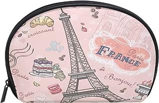 ALAZA Paris Eiffel Tower Half Moon Cosmetic Makeup Toiletry Bag Pouch Travel Handy Purse Organizer Bag for Women Girls
