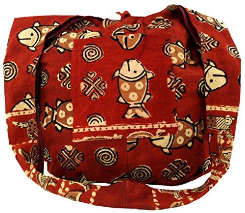 Guru-Shop Sadhu Bolsa, Bolso de Hombro, Impresión de Bloque del Hippie Bolsa de Hombro - Rojo / Blanco, Unisex - Adultos, Algodón, Sadhu Bolsa, la Bolsa Hippie