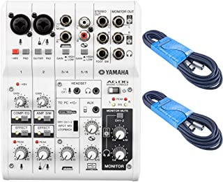 Yamaha AG06 6-Channel Mixer and USB Audio Interface Bundled with Two 15' XLR Cables