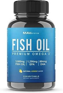 MAV Nutrition Omega 3 Fish Oil Triple Strength, 3,600mg, Burpless, Non-GMO, NSF-Certified, 120 Count (1)