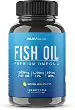 Omega 3 Fish Oil 3,600 mg - Designed to Support Heart, Brain, Joints & Skin; with EPA + DHA; Burpless with a Natural Lemon Flavor; Non-GMO