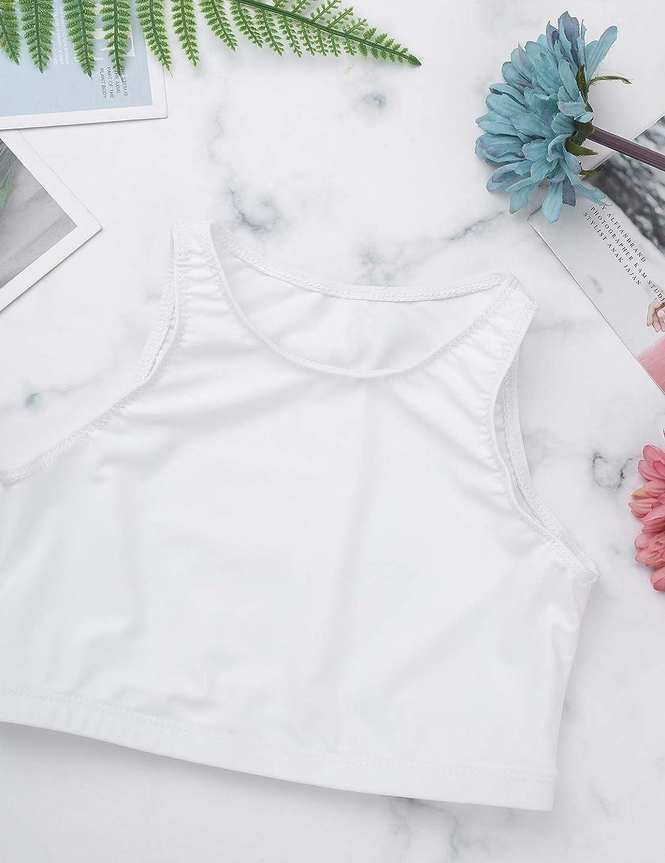 Doomiva Kids Girls Sleeveless Tanks Dancewear Crop Tops Athletic Outfits Sports Bra Gymnastics Vest