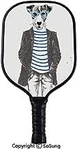 Paleta Pickleball Fleur De Lis, patrón de puntos a cuadros con flor de lirio abstracta monocromática Renacimiento antiguo Paleta Pickleball compuesta de cuerpo ancho decorativa, para niños y adultos, negro blanco
