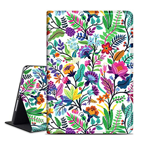 ANERIMST Case for iPad 8th/7th Generation, Compatible with iPad 10.2 inch 2020 2019, Multi-Angle Viewing, Soft TPU Back, Auto Sleep/Wake, Protective Smart Cover for Women Girls (Colorful-Leaf)