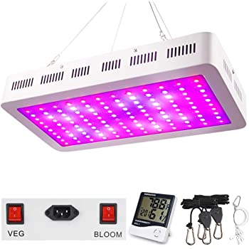 1200W LED Grow Light, WAKYME Adjustable Full Spectrum Double Switch Plant Light with Veg and Bloom Button and Powerful Heat Dissipation System for Indoor Plants Veg and Flower(120Pcs LEDs)