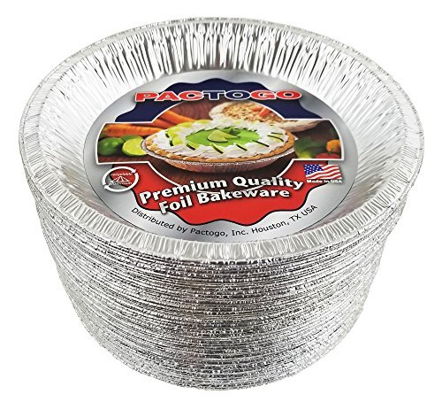Pactogo Aluminum Foil Pie Pan (Top-Out 9-5/8 Inches - Top-In 8-3/4 Inches - Vertical Depth 1-3/16 Inches) - Disposable Baking Tin Plates (Pack of 50)