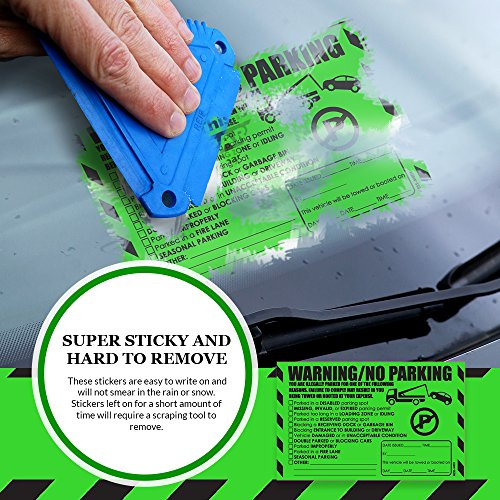 """Parking Violation Stickers for Cars (Fluorescent Green) - 100 Illegal Warning Reserved, Handicapped, Private Parking and More/No Parking Hard to Remove and Super Sticky Tow Warnings 8"""" x 5"""" by MESS Photo #6"""