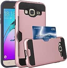 J3 Case, J3 V Case, Express Prime Case, Amp Prime Case, Jwest [Card Slot] Shock Absorbent Armor Hybrid Defender Shockproof Protective Wallet Cover Case For Samsung Galaxy J3 / Express Prime, Rose Gold