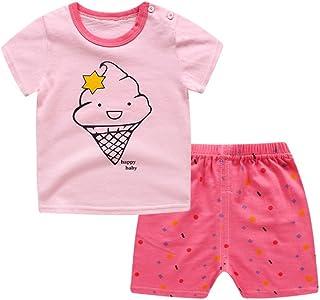 Minuya Conjuntos Bebés Niños Niñas, Verano Algodón de Camiseta de Manga Corta + Pantalones Cortos Ropa para Dormir/Pijama ...