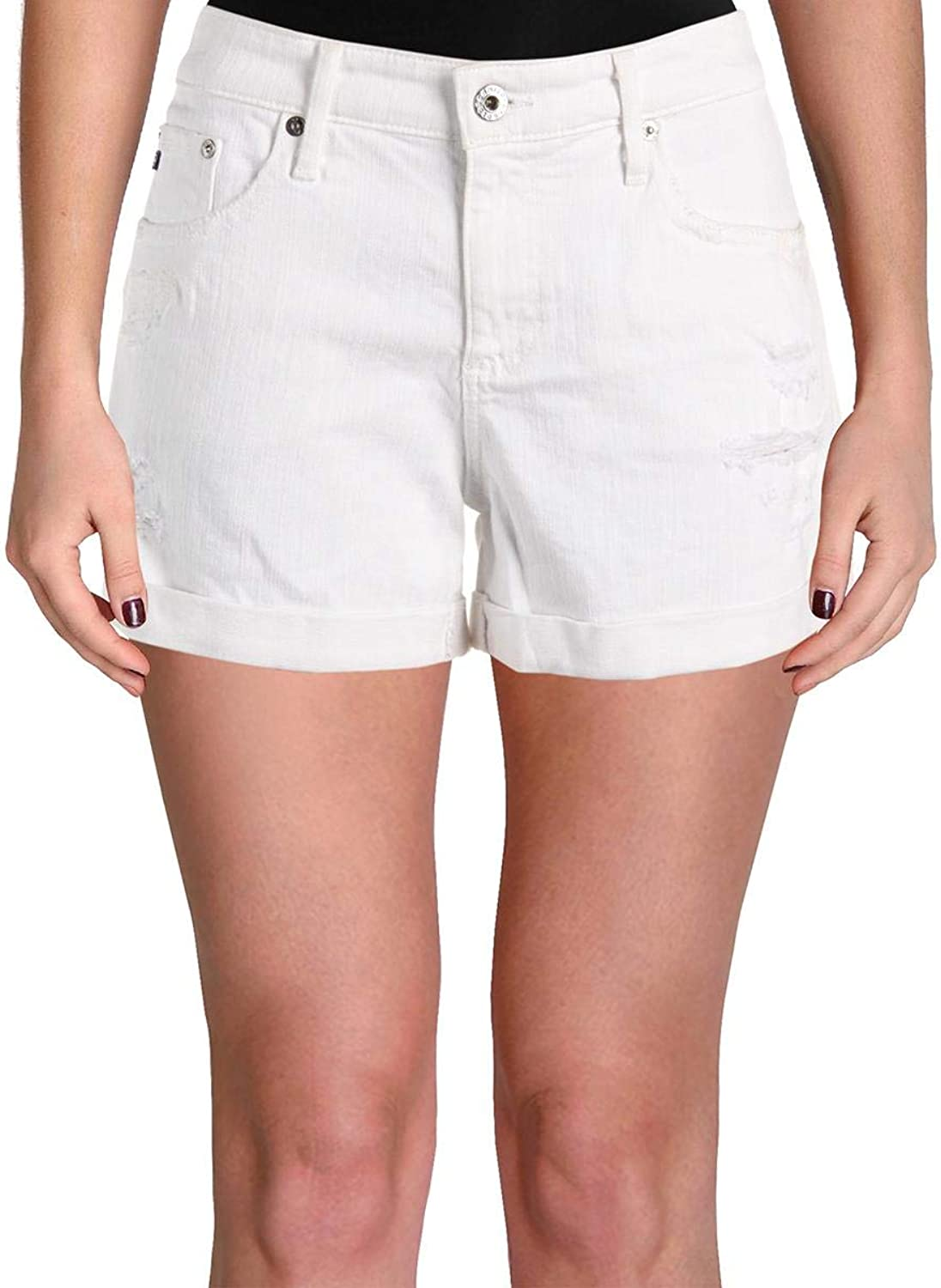 Adriano goldschmied Womens Hailey Flat Front Casual Denim Shorts Ivory 31