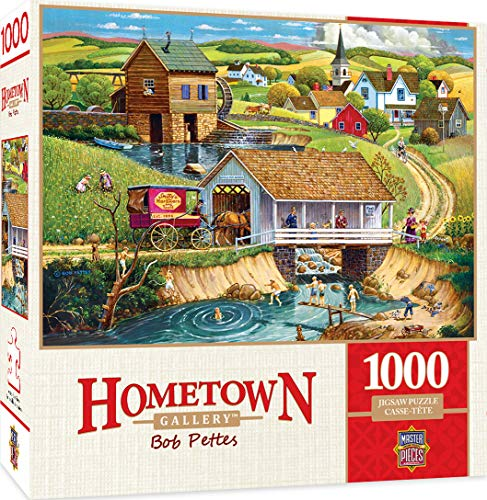 Masterpieces Hometown Gallery Jigsaw Puzzle, Last Swim of Summer, Featuring Art by Bob Pettes, 1000Piece -  MasterPieces Puzzle Company, 71936